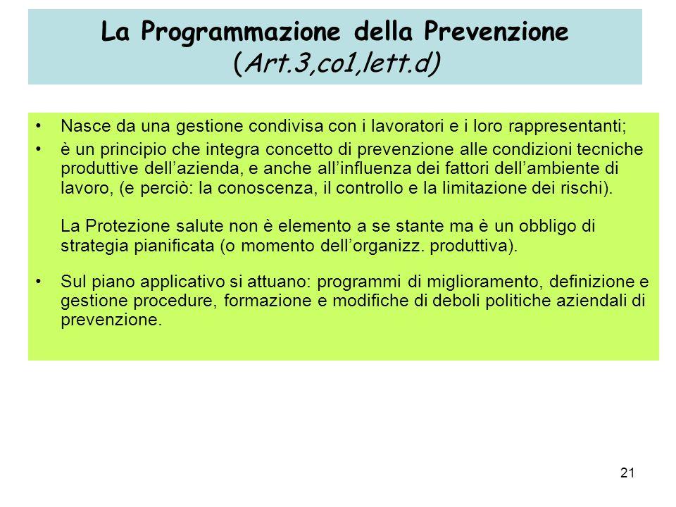 21 La Programmazione della Prevenzione (Art.3,co1,lett.d) Nasce da una gestione condivisa con i lavoratori e i loro rappresentanti; è un principio che integra concetto di prevenzione alle condizioni tecniche produttive dellazienda, e anche allinfluenza dei fattori dellambiente di lavoro, (e perciò: la conoscenza, il controllo e la limitazione dei rischi).