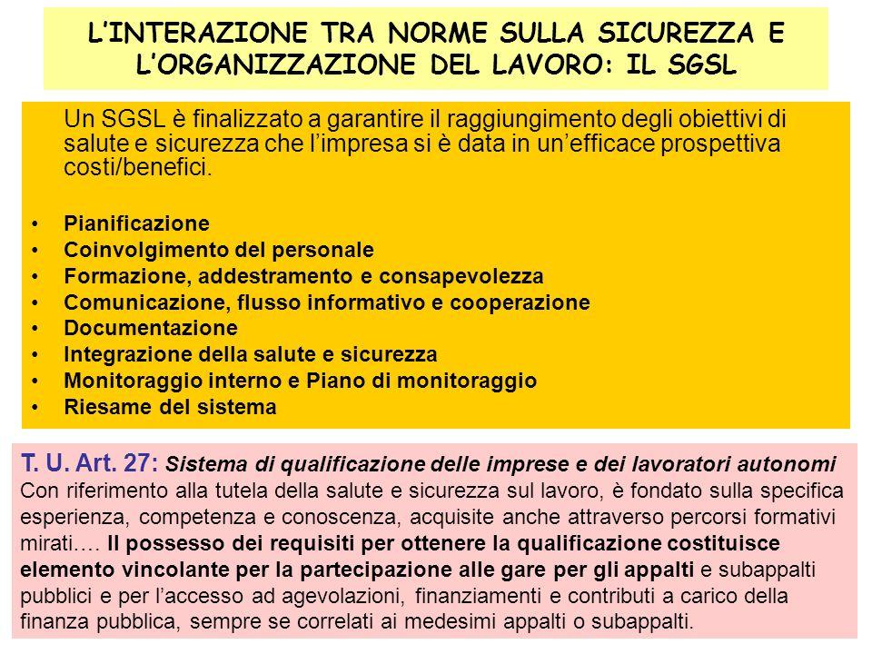 27 LINTERAZIONE TRA NORME SULLA SICUREZZA E LORGANIZZAZIONE DEL LAVORO: IL SGSL Un SGSL è finalizzato a garantire il raggiungimento degli obiettivi di