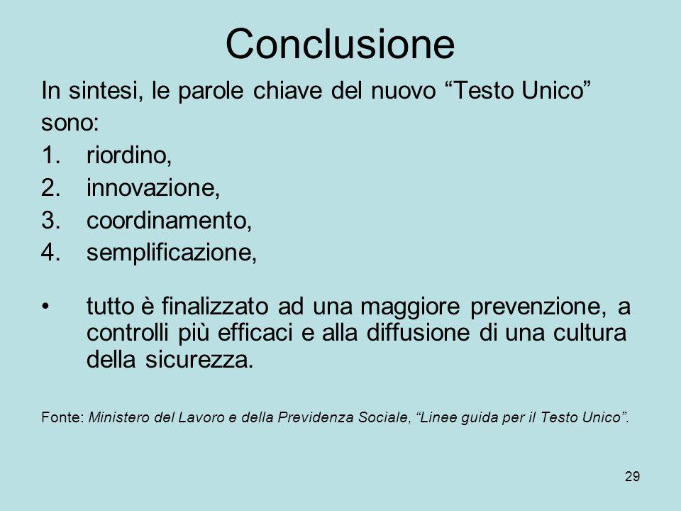29 Conclusione In sintesi, le parole chiave del nuovo Testo Unico sono: 1.riordino, 2.innovazione, 3.coordinamento, 4.semplificazione, tutto è finaliz