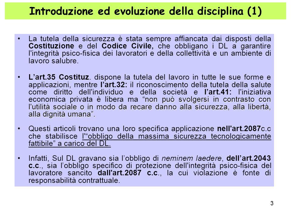 3 Introduzione ed evoluzione della disciplina (1) La tutela della sicurezza è stata sempre affiancata dai disposti della Costituzione e del Codice Civ