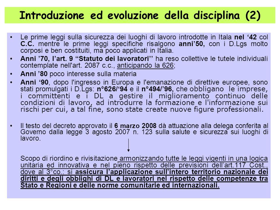 4 Le prime leggi sulla sicurezza dei luoghi di lavoro introdotte in Itala nel 42 col C.C. mentre le prime leggi specifiche risalgono anni50, con i D.L