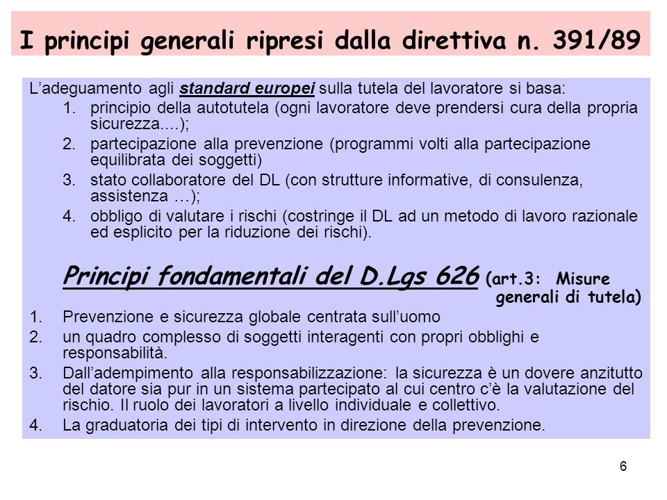 6 I principi generali ripresi dalla direttiva n. 391/89 Ladeguamento agli standard europei sulla tutela del lavoratore si basa: 1.principio della auto
