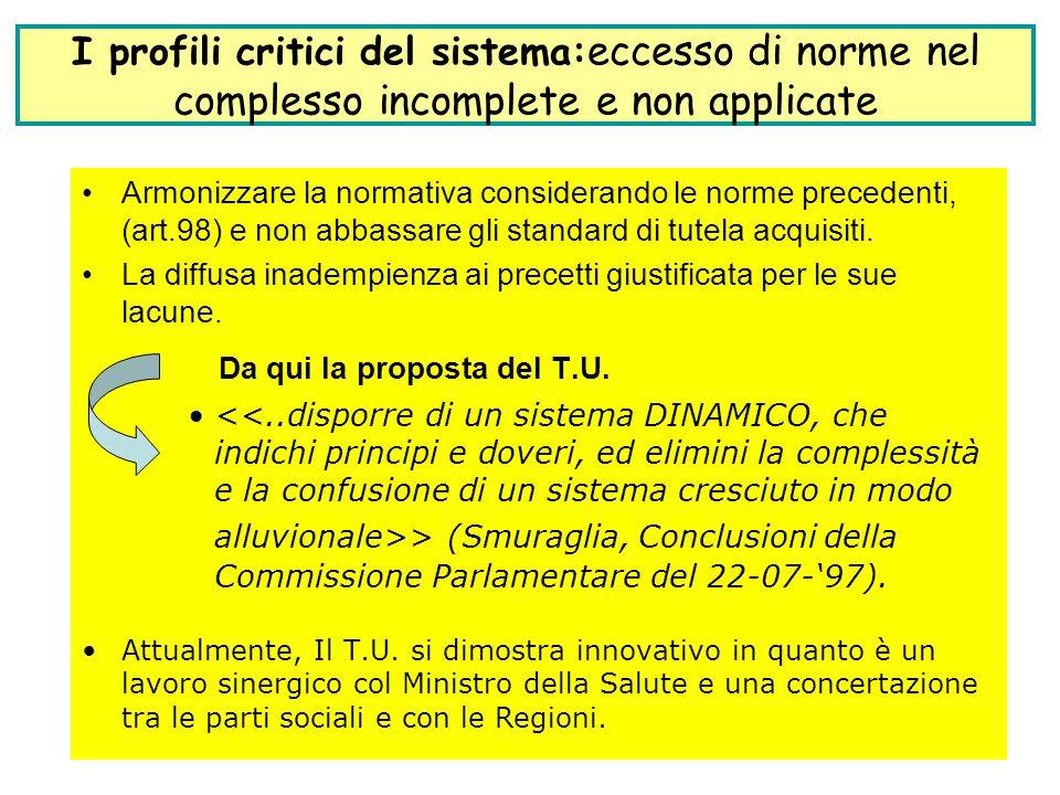 7 Armonizzare la normativa considerando le norme precedenti, (art.98) e non abbassare gli standard di tutela acquisiti. La diffusa inadempienza ai pre