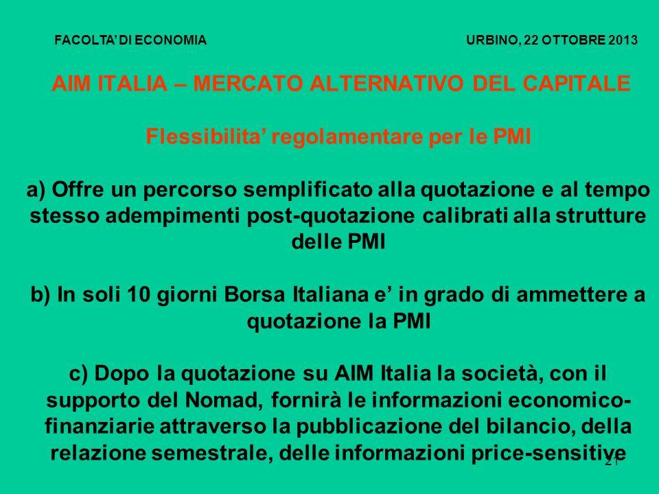 22 AIM ITALIA – MERCATO ALTERNATIVO DEL CAPITALE Centralità del NOMAD (Nominated Adviser) Il Nomad è il consulente che accompagna la PMI durante la fase di ammissione e per tutta la permanenza sul mercato.
