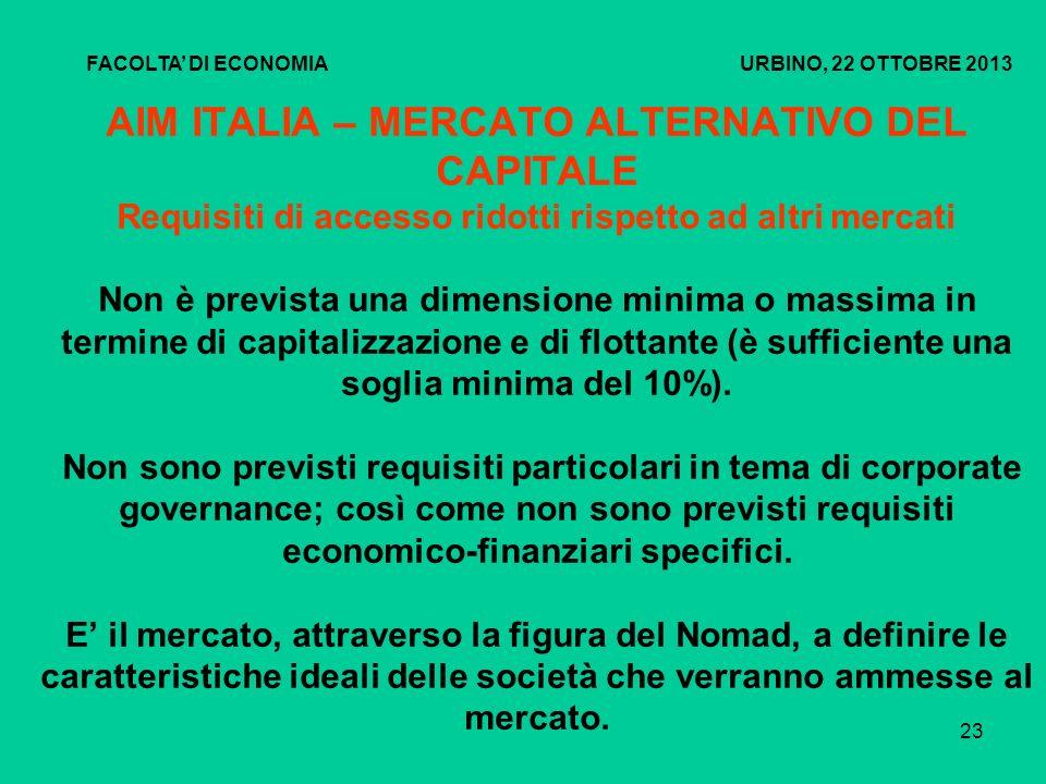 24 AIM ITALIA - MERCATO ALTERNATIVO DEL CAPITALE FACOLTA DI ECONOMIA URBINO, 22 OTTOBRE 2013 ATTIVITA PREPARATORIA 12 SETTIMANE6 SETTIMANE1 SETTIMANA - Selezione del Nomad e il team di consulenti - Verificare le aree problematiche emerse dalla due dilinge - Completare la due diligence - Completamento della domanda, pubblicazione dei documenti di ammissione e collocamento dellofferta (3 gg prima) - Avviare la due- diligence - Predisporre la bozza del documento di ammissione - Road show per gli investirori - Definizione del prezzo e allocazione dellofferta (underwritting) - Costruire lequity story e la strategia di investor relations - Condividere le prime ipotesi di valutazione - Comunicazione di pre- ammissione (10 gg prima) - Presentazione agli analisti (Road-show) IL PROCESSO