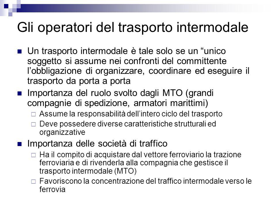 Gli operatori del trasporto intermodale Un trasporto intermodale è tale solo se un unico soggetto si assume nei confronti del committente lobbligazion