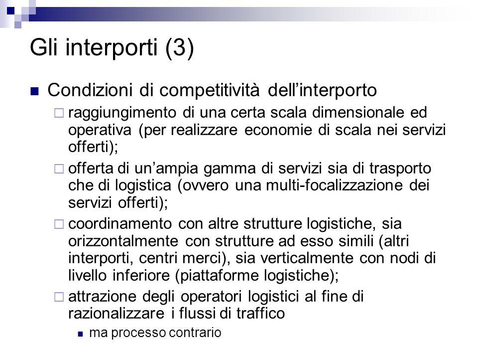 Gli interporti (3) Condizioni di competitività dellinterporto raggiungimento di una certa scala dimensionale ed operativa (per realizzare economie di