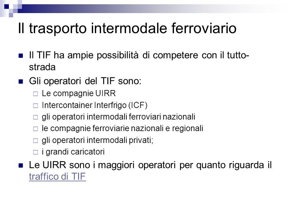 Il trasporto intermodale ferroviario Il TIF ha ampie possibilità di competere con il tutto- strada Gli operatori del TIF sono: Le compagnie UIRR Inter