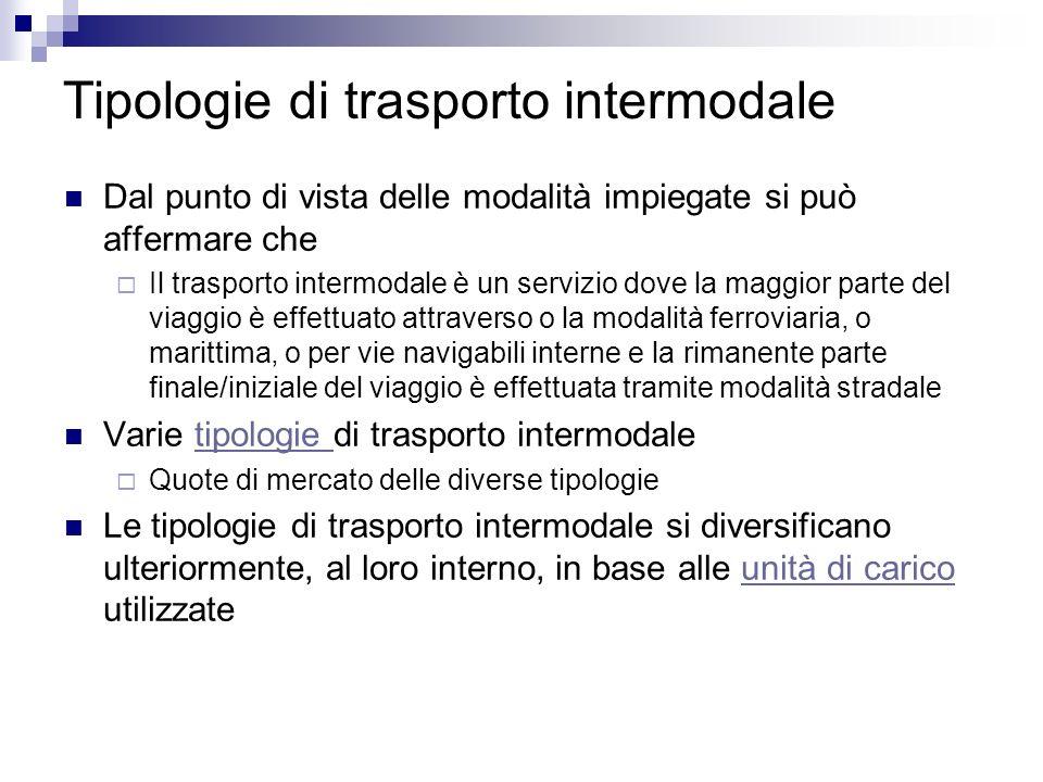 Tipologie di trasporto intermodale Dal punto di vista delle modalità impiegate si può affermare che Il trasporto intermodale è un servizio dove la mag
