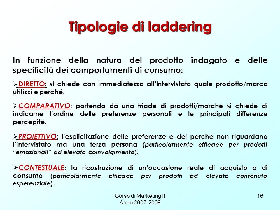 Corso di Marketing II Anno 2007-2008 16 Tipologie di laddering In funzione della natura del prodotto indagato e delle specificità dei comportamenti di