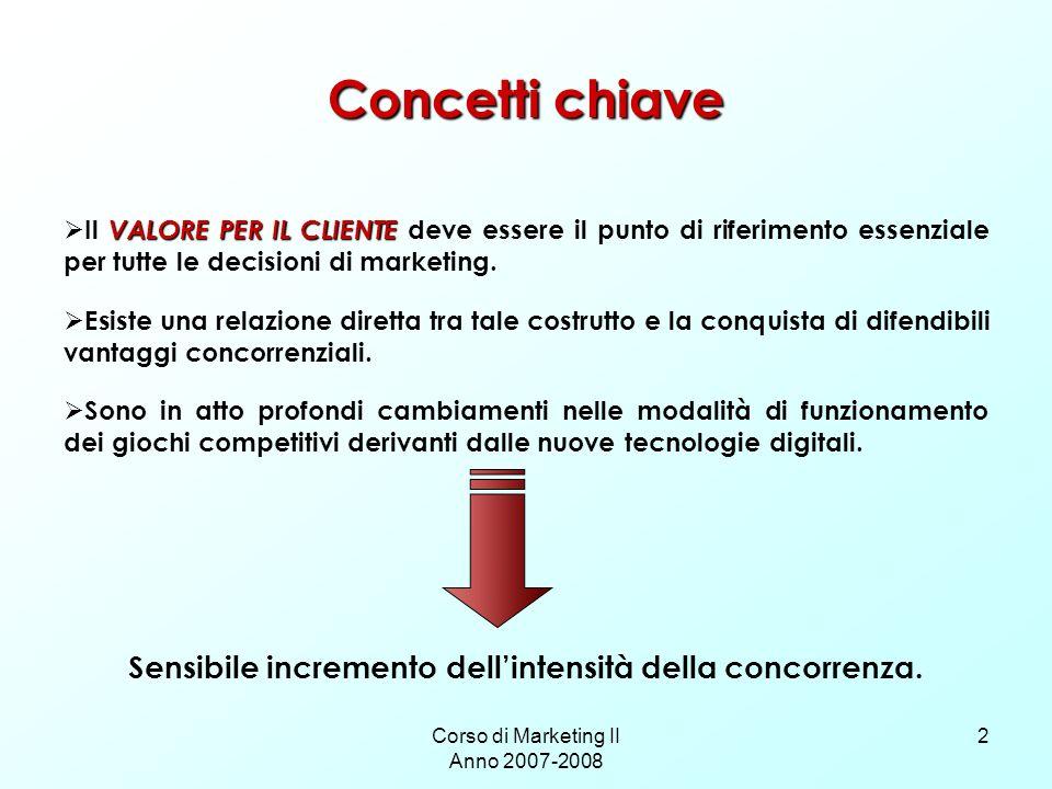 Corso di Marketing II Anno 2007-2008 2 Concetti chiave VALORE PER IL CLIENTE Il VALORE PER IL CLIENTE deve essere il punto di riferimento essenziale p