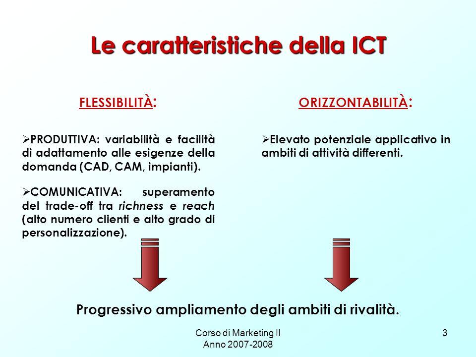 Corso di Marketing II Anno 2007-2008 3 Le caratteristiche della ICT FLESSIBILITÀ : PRODUTTIVA: variabilità e facilità di adattamento alle esigenze del
