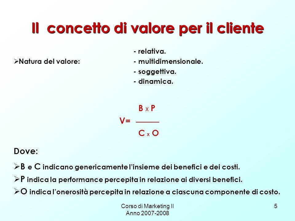 Corso di Marketing II Anno 2007-2008 5 Il concetto di valore per il cliente - relativa. Natura del valore: - multidimensionale. - soggettiva. - dinami