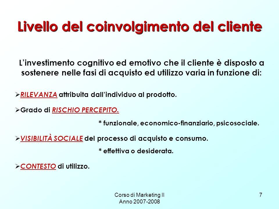 Corso di Marketing II Anno 2007-2008 7 Livello del coinvolgimento del cliente Linvestimento cognitivo ed emotivo che il cliente è disposto a sostenere