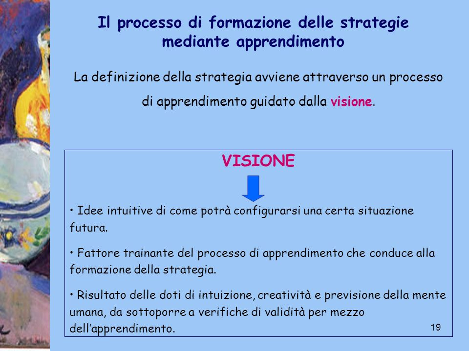 19 Il processo di formazione delle strategie mediante apprendimento La definizione della strategia avviene attraverso un processo di apprendimento gui