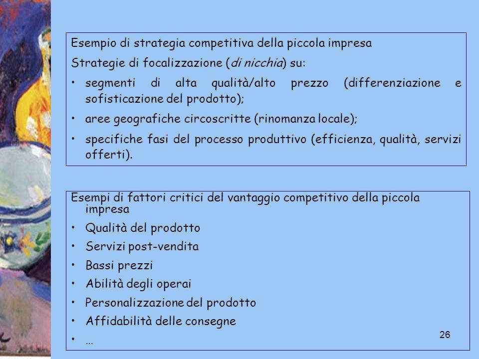 26 Esempi di fattori critici del vantaggio competitivo della piccola impresa Qualità del prodotto Servizi post-vendita Bassi prezzi Abilità degli oper