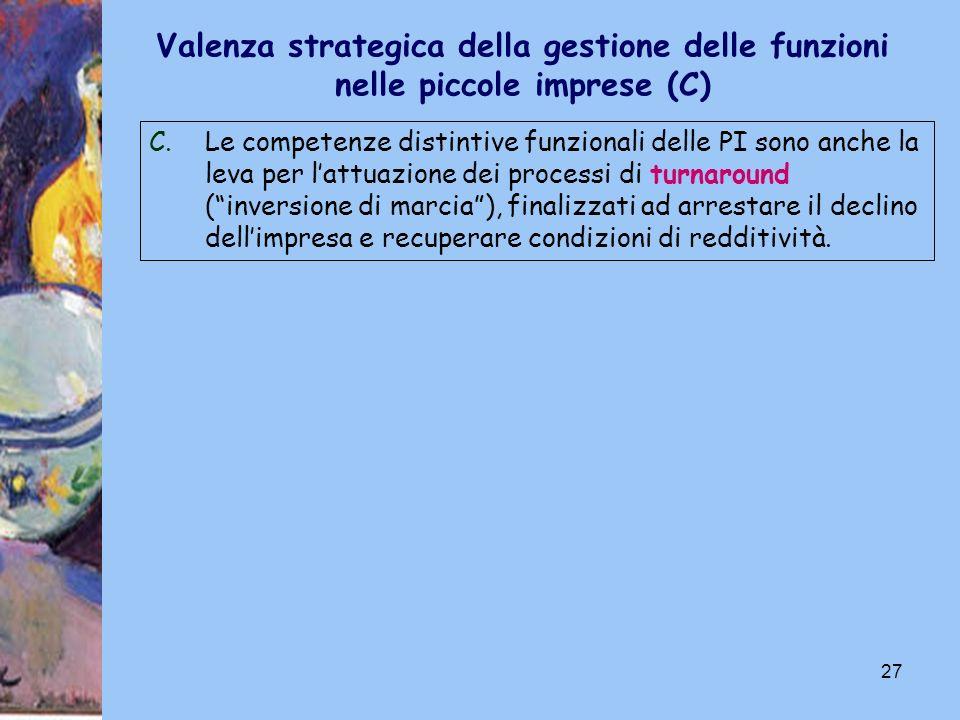 27 C.Le competenze distintive funzionali delle PI sono anche la leva per lattuazione dei processi di turnaround (inversione di marcia), finalizzati ad