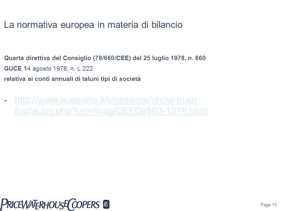 La normativa europea in materia di bilancio Quarta direttiva del Consiglio (78/660/CEE) del 25 luglio 1978, n. 660 GUCE 14 agosto 1978, n. L 222 relat