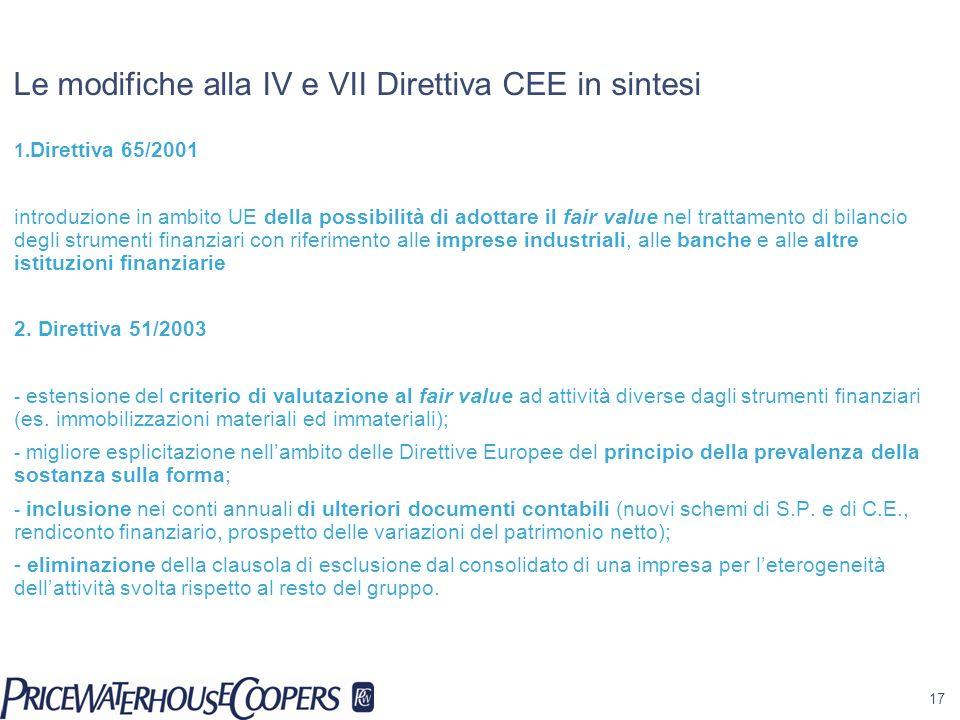 17 Le modifiche alla IV e VII Direttiva CEE in sintesi 1. Direttiva 65/2001 introduzione in ambito UE della possibilità di adottare il fair value nel