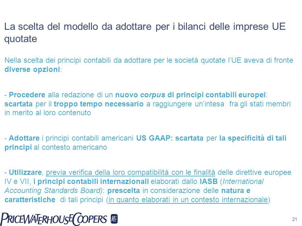 21 La scelta del modello da adottare per i bilanci delle imprese UE quotate Nella scelta dei principi contabili da adottare per le società quotate lUE