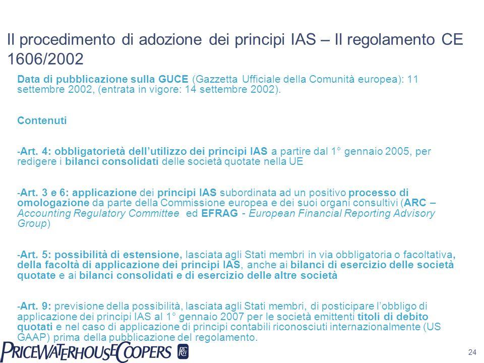 24 Il procedimento di adozione dei principi IAS – Il regolamento CE 1606/2002 Data di pubblicazione sulla GUCE (Gazzetta Ufficiale della Comunità euro