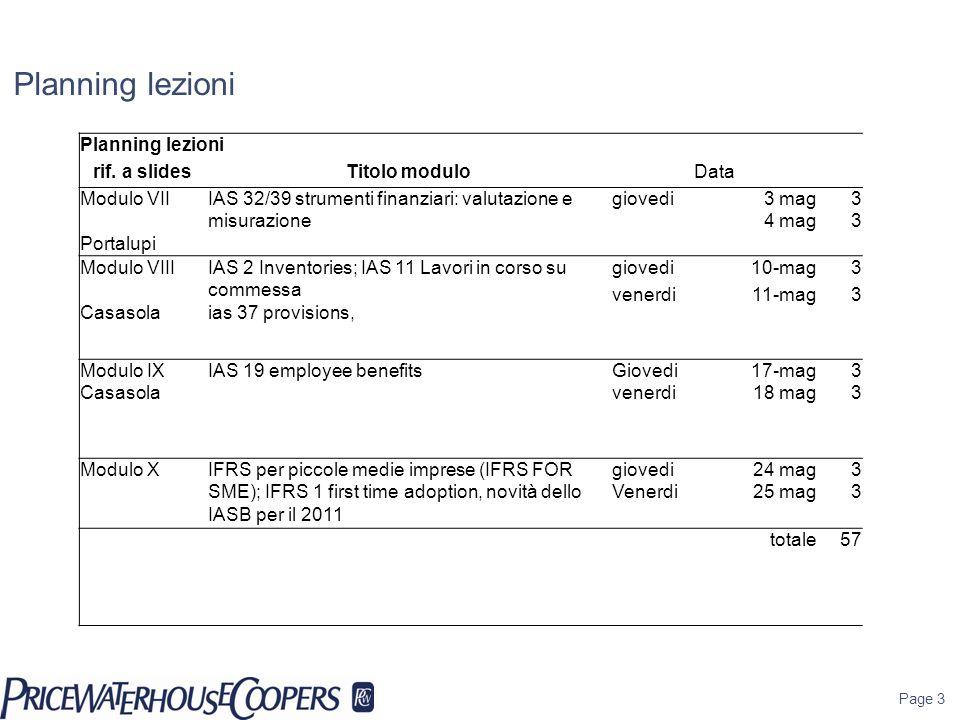 Planning lezioni Page 3 Planning lezioni rif. a slidesTitolo moduloData Modulo VII Portalupi IAS 32/39 strumenti finanziari: valutazione e misurazione