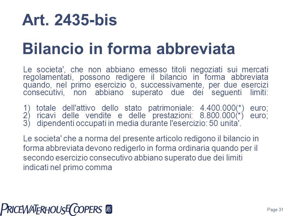 Page 31 Le societa', che non abbiano emesso titoli negoziati sui mercati regolamentati, possono redigere il bilancio in forma abbreviata quando, nel p