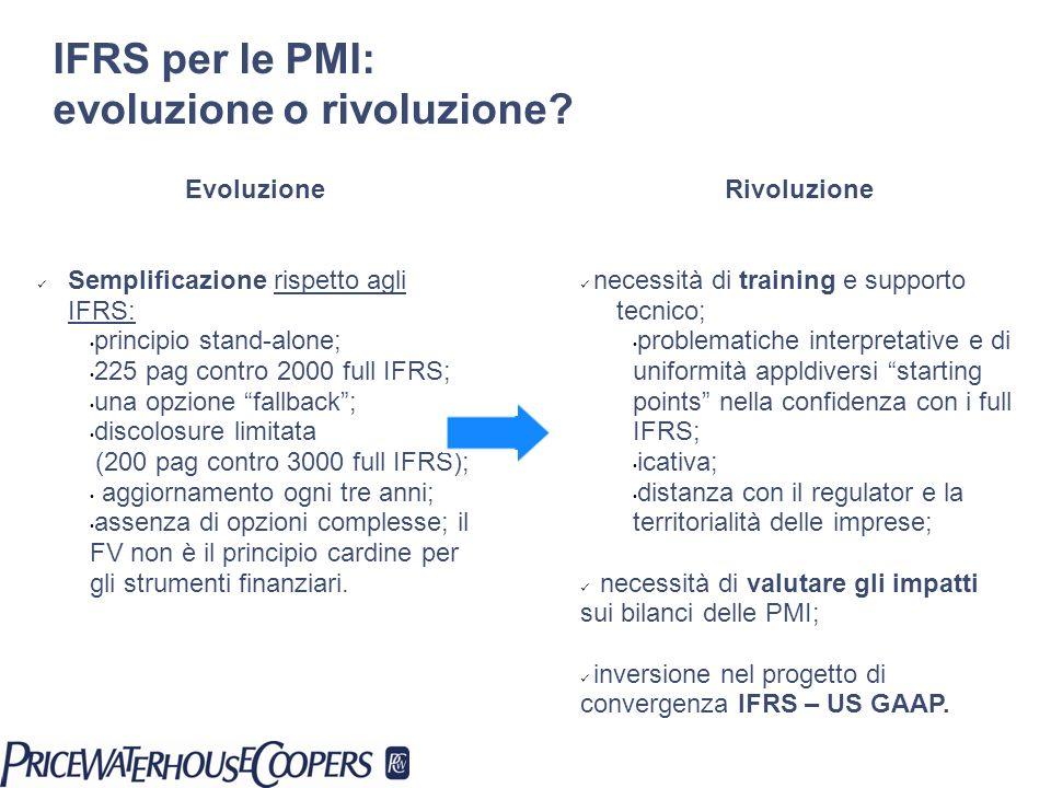 IFRS per le PMI: evoluzione o rivoluzione? Evoluzione Semplificazione rispetto agli IFRS: principio stand-alone; 225 pag contro 2000 full IFRS; una op