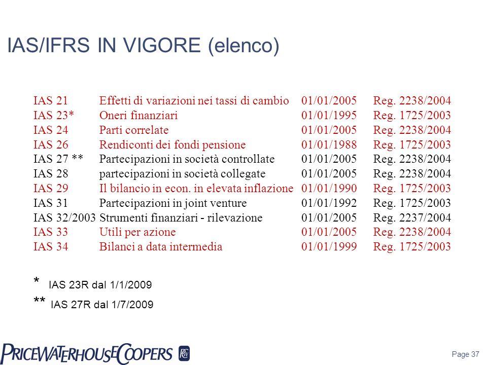 Page 37 IAS/IFRS IN VIGORE (elenco) IAS 21 Effetti di variazioni nei tassi di cambio 01/01/2005 Reg. 2238/2004 IAS 23*Oneri finanziari 01/01/1995Reg.