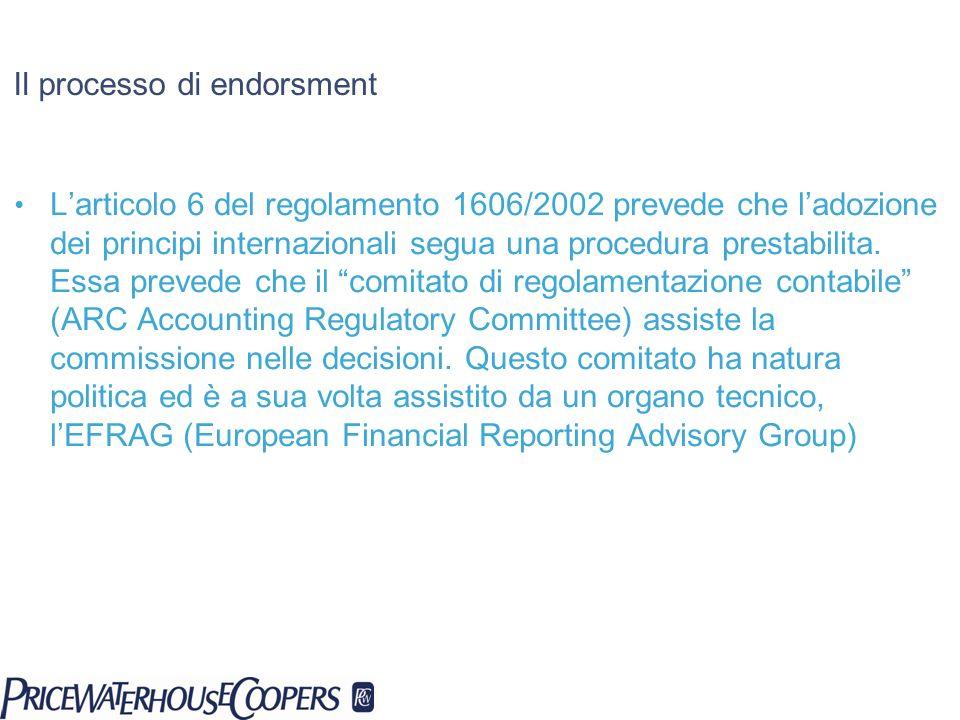 Il processo di endorsment Larticolo 6 del regolamento 1606/2002 prevede che ladozione dei principi internazionali segua una procedura prestabilita. Es