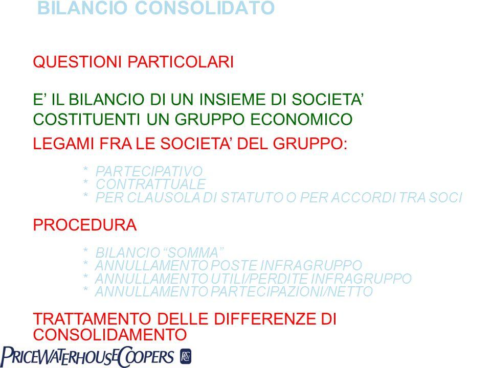 BILANCIO CONSOLIDATO QUESTIONI PARTICOLARI E IL BILANCIO DI UN INSIEME DI SOCIETA COSTITUENTI UN GRUPPO ECONOMICO LEGAMI FRA LE SOCIETA DEL GRUPPO: *