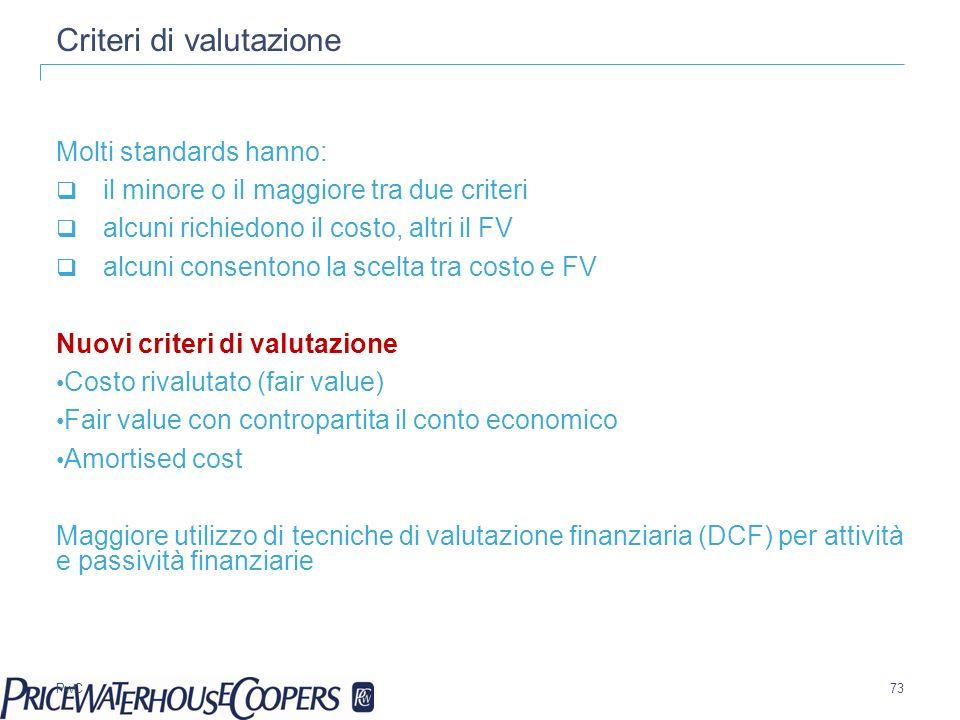 PwC Criteri di valutazione Molti standards hanno: il minore o il maggiore tra due criteri alcuni richiedono il costo, altri il FV alcuni consentono la