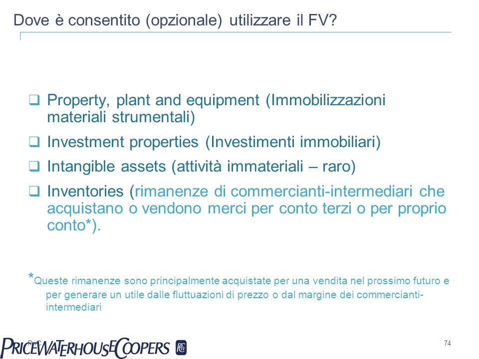 PwC Dove è consentito (opzionale) utilizzare il FV? Property, plant and equipment (Immobilizzazioni materiali strumentali) Investment properties (Inve