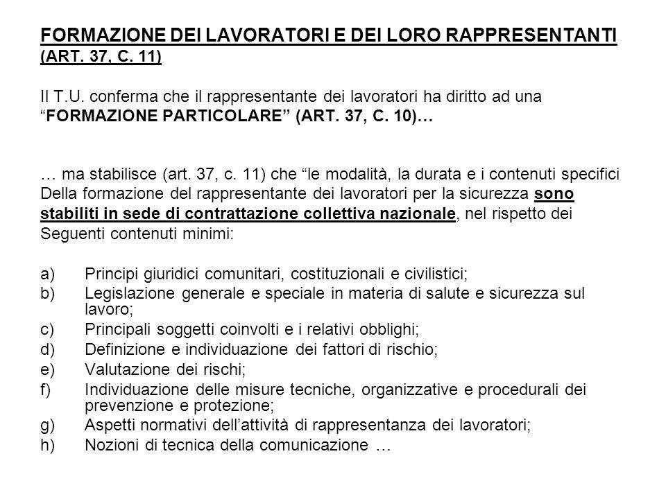 FORMAZIONE DEI LAVORATORI E DEI LORO RAPPRESENTANTI (ART.