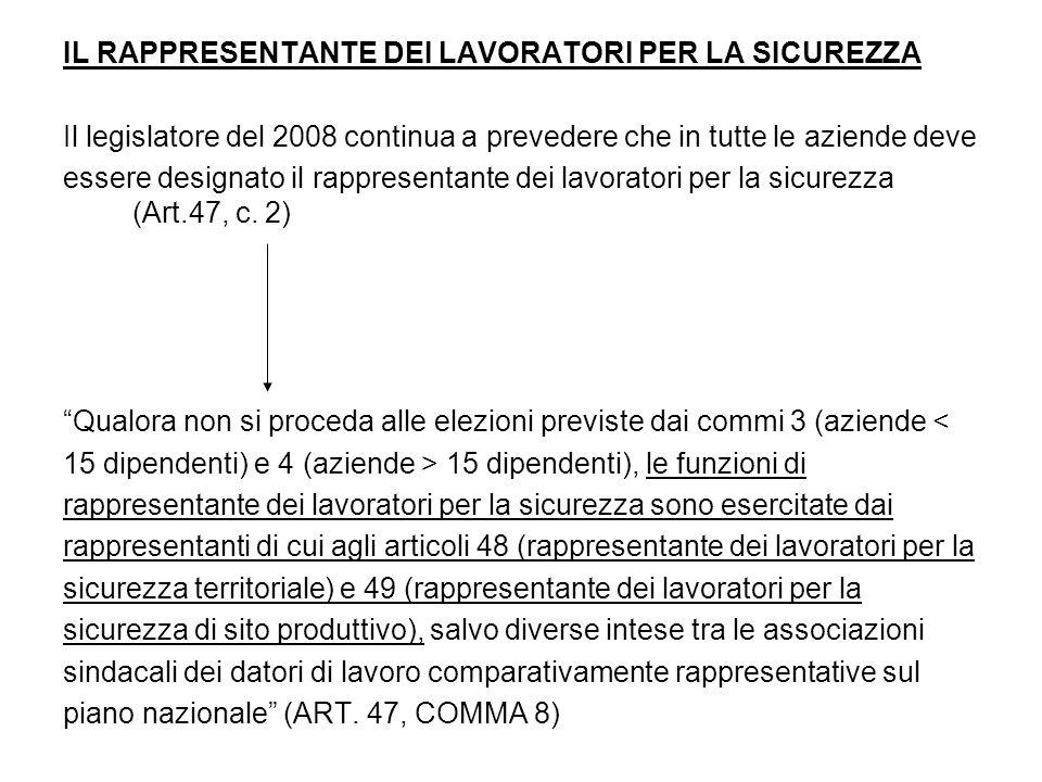 IL RAPPRESENTANTE DEI LAVORATORI PER LA SICUREZZA Il legislatore del 2008 continua a prevedere che in tutte le aziende deve essere designato il rappresentante dei lavoratori per la sicurezza (Art.47, c.