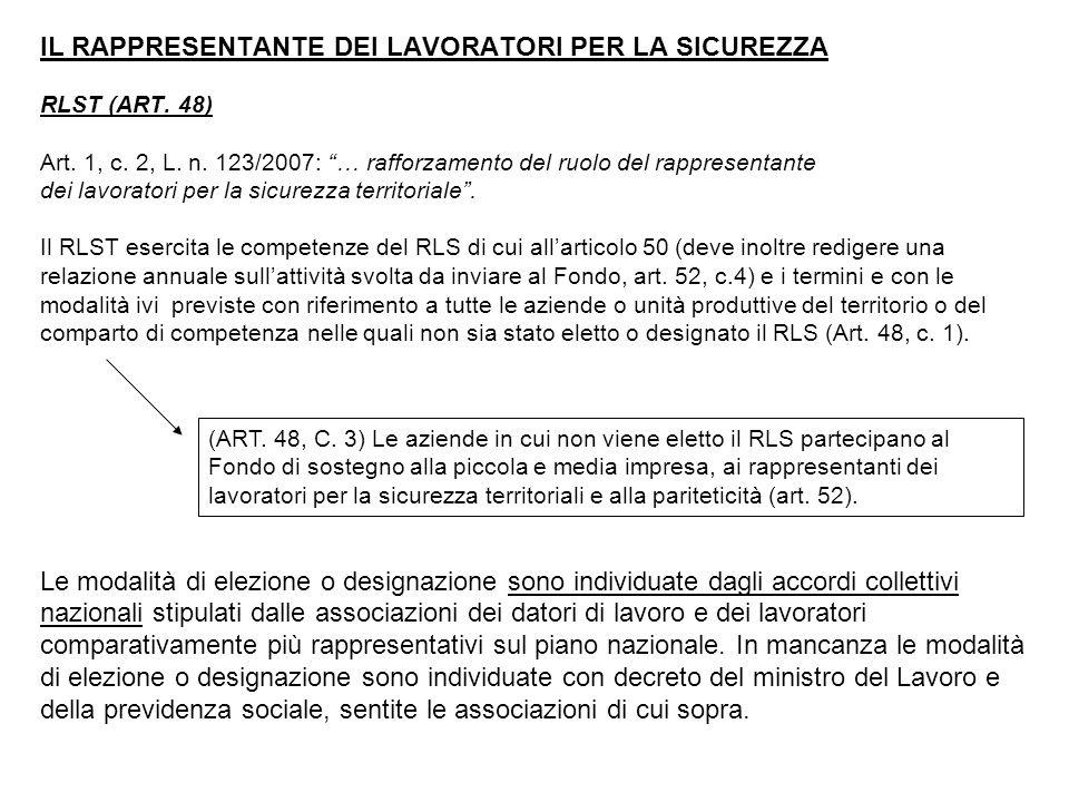 IL RAPPRESENTANTE DEI LAVORATORI PER LA SICUREZZA RLST (ART.