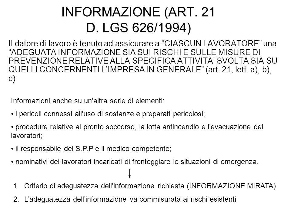 INFORMAZIONE (ART. 21 D.