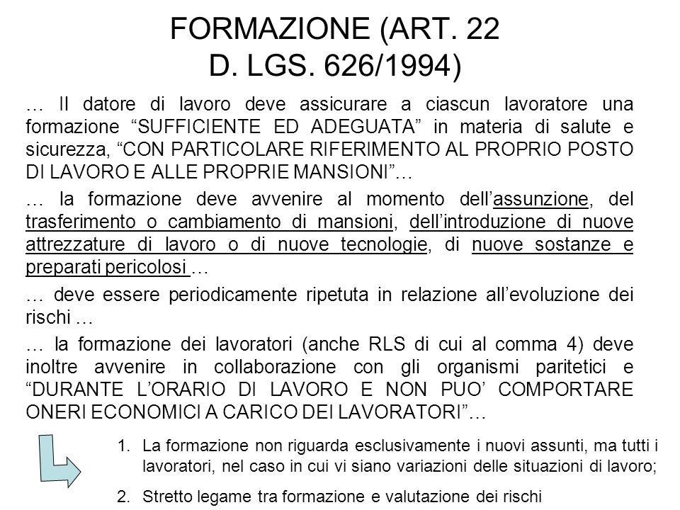 FORMAZIONE (ART. 22 D. LGS.