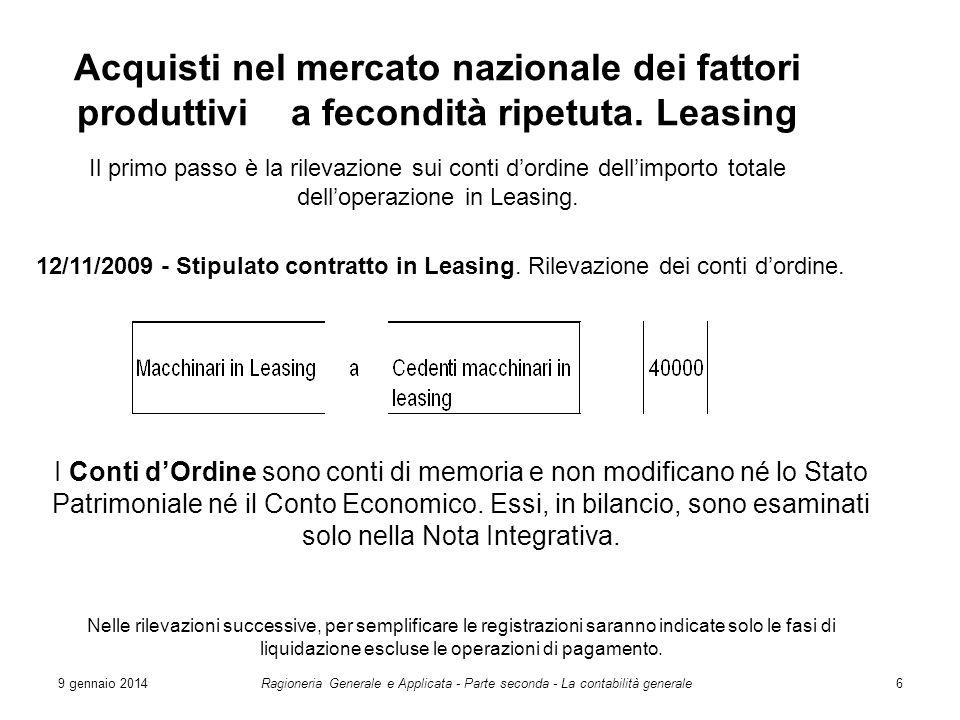 9 gennaio 2014Ragioneria Generale e Applicata - Parte seconda - La contabilità generale6 Acquisti nel mercato nazionale dei fattori produttivi a fecon