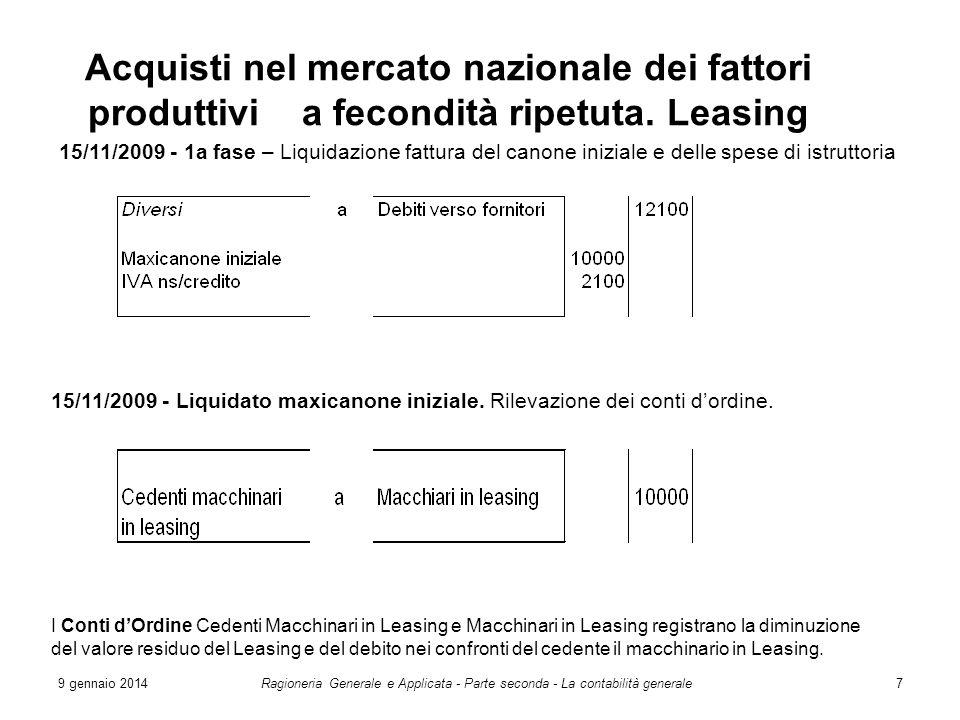 9 gennaio 2014Ragioneria Generale e Applicata - Parte seconda - La contabilità generale7 Acquisti nel mercato nazionale dei fattori produttivi a fecon