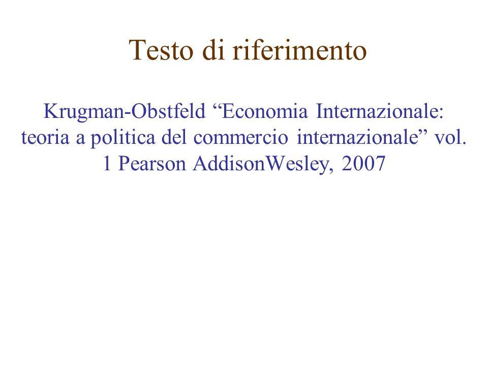 Testo di riferimento Krugman-Obstfeld Economia Internazionale: teoria a politica del commercio internazionale vol. 1 Pearson AddisonWesley, 2007