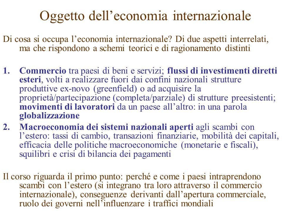 Oggetto delleconomia internazionale Di cosa si occupa leconomia internazionale? Di due aspetti interrelati, ma che rispondono a schemi teorici e di ra