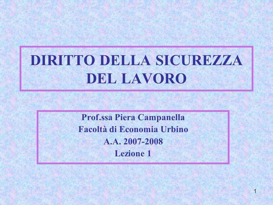 1 DIRITTO DELLA SICUREZZA DEL LAVORO Prof.ssa Piera Campanella Facoltà di Economia Urbino A.A. 2007-2008 Lezione 1