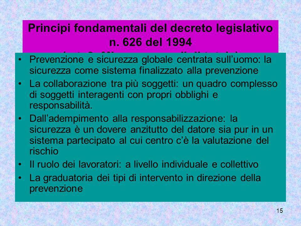15 Principi fondamentali del decreto legislativo n. 626 del 1994 (art. 3: Misure generali di tutela) Prevenzione e sicurezza globale centrata sulluomo
