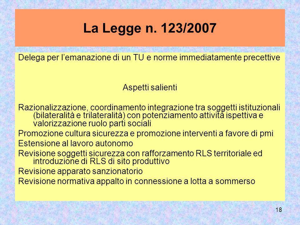 18 La Legge n. 123/2007 Delega per lemanazione di un TU e norme immediatamente precettive Aspetti salienti Razionalizzazione, coordinamento integrazio