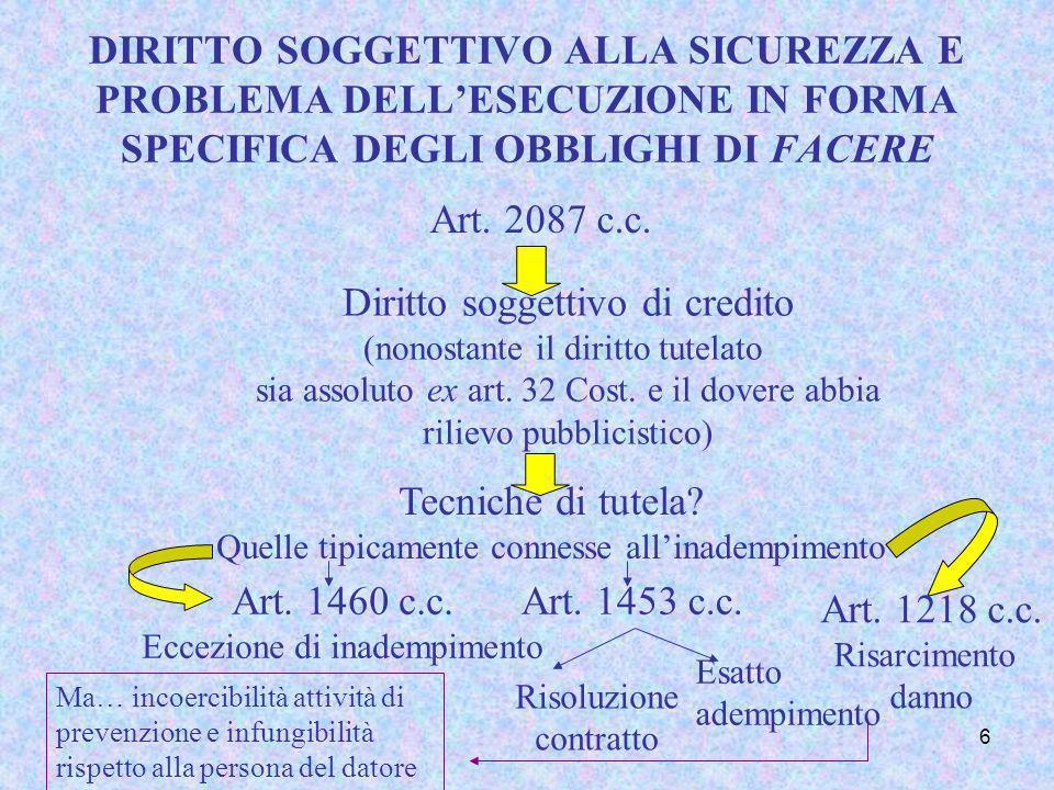6 DIRITTO SOGGETTIVO ALLA SICUREZZA E PROBLEMA DELLESECUZIONE IN FORMA SPECIFICA DEGLI OBBLIGHI DI FACERE Art. 2087 c.c. Diritto soggettivo di credito