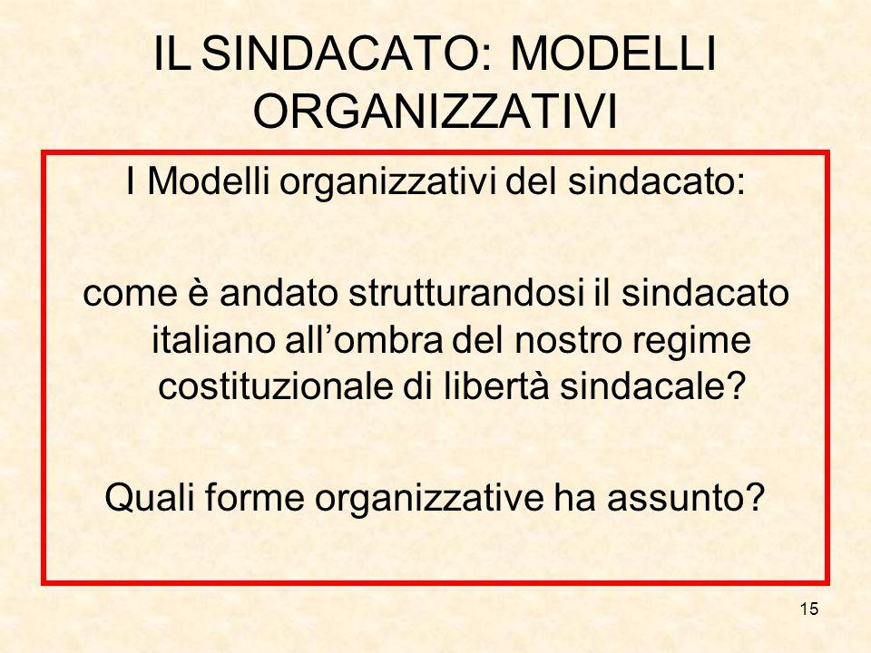 15 IL SINDACATO: MODELLI ORGANIZZATIVI I Modelli organizzativi del sindacato: come è andato strutturandosi il sindacato italiano allombra del nostro r