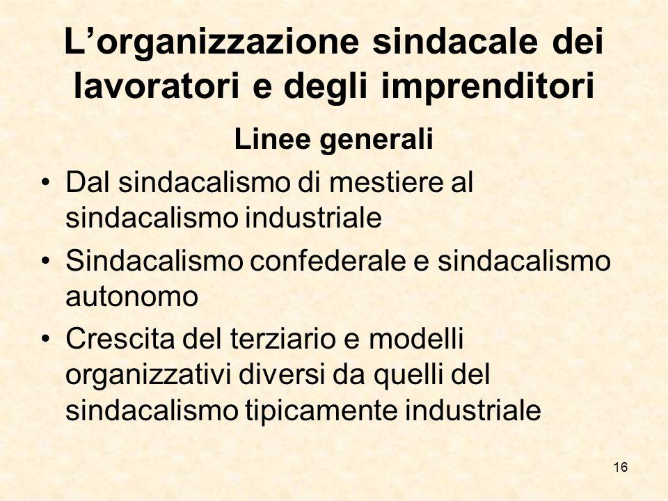 16 Lorganizzazione sindacale dei lavoratori e degli imprenditori Linee generali Dal sindacalismo di mestiere al sindacalismo industriale Sindacalismo
