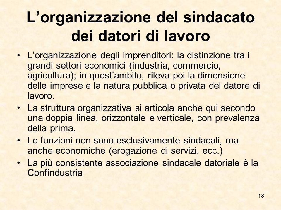 18 Lorganizzazione del sindacato dei datori di lavoro Lorganizzazione degli imprenditori: la distinzione tra i grandi settori economici (industria, co