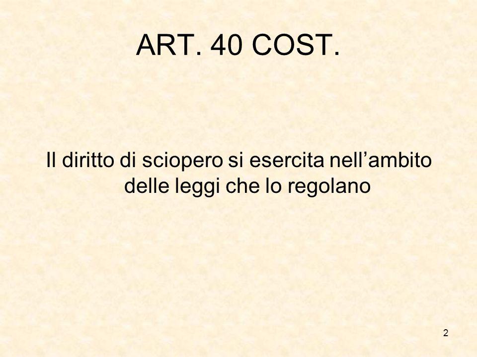 2 ART. 40 COST. Il diritto di sciopero si esercita nellambito delle leggi che lo regolano